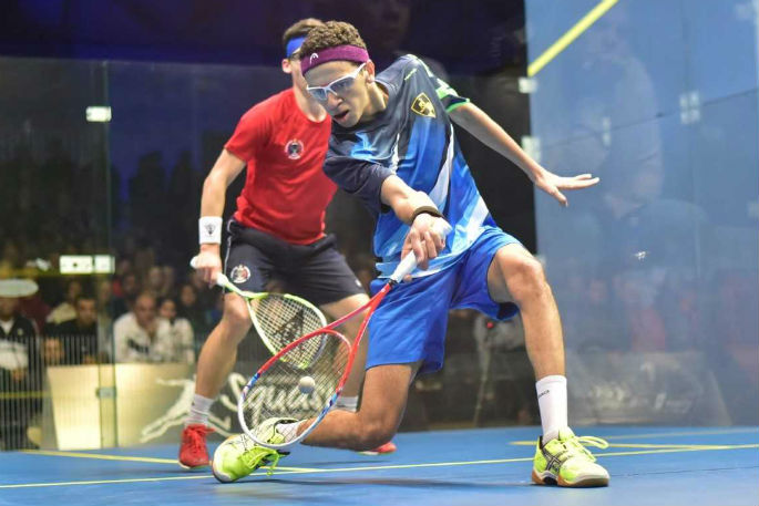 Egypt's Marwan Tarek in action in his 3-2 win against France's Victor Crown in the World Junior Squash Championship in Tauranga