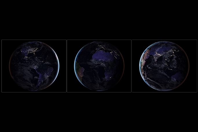 Sunlive earth shines bright in new nasa map the bays news first three composite images which provide full hemisphere views of earth at night gumiabroncs Image collections