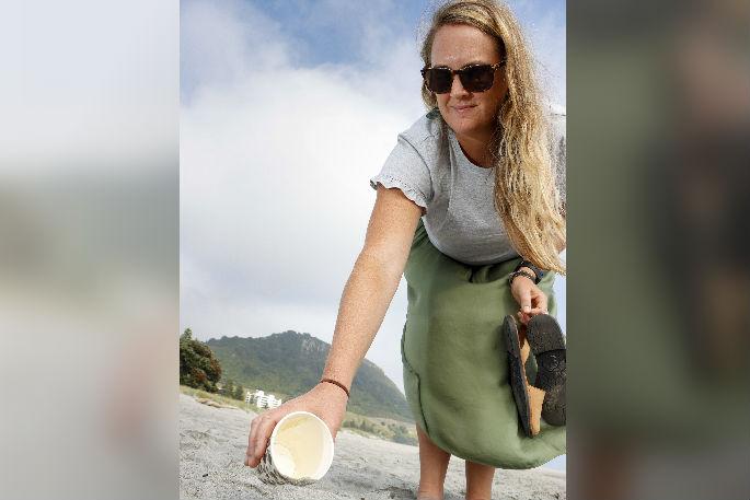 Binning the beach trash in Mount Maunganui