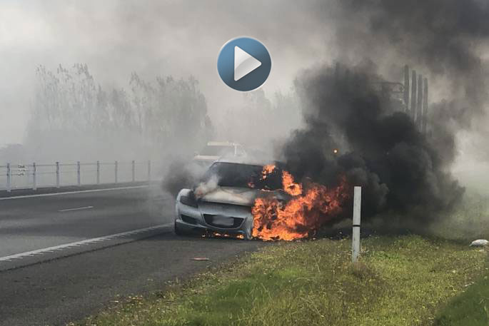 Car engulfed in flames in Papamoa