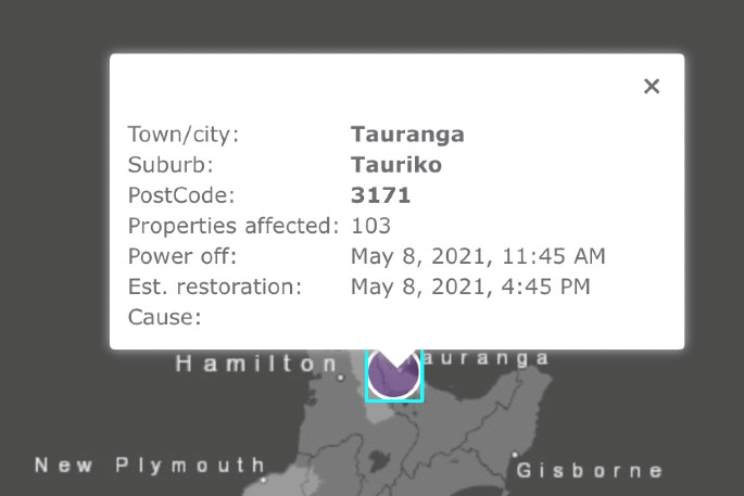 Power outage in Tauriko following car hitting pole