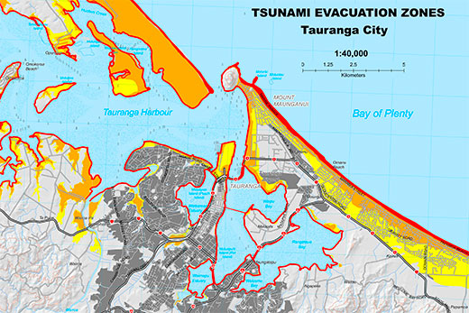 SunLive Tsunami safe zones unveiled The Bays News First